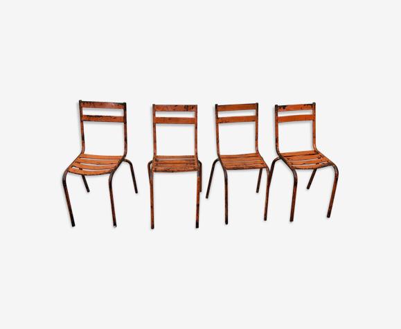 4 chaises en métal