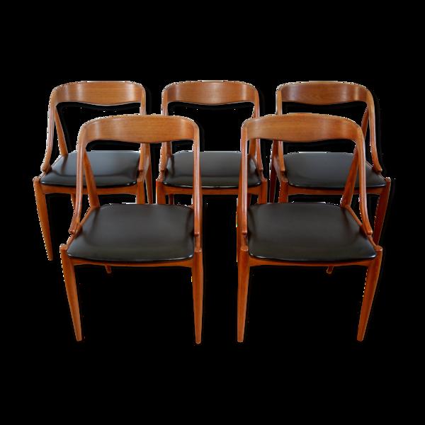 Selency Série de 5 chaises scandinaves en teck Andersen 1960