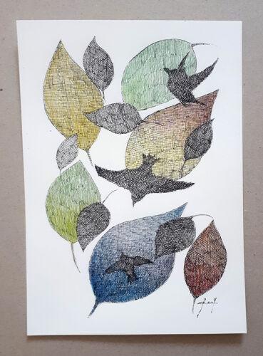 """""""jouer avec le vent"""" encre de chine,crayon couleur sur papier"""