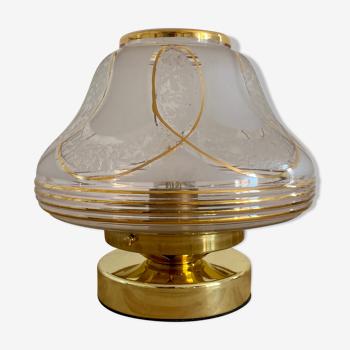 Lampe à poser globe art déco blanc et doré