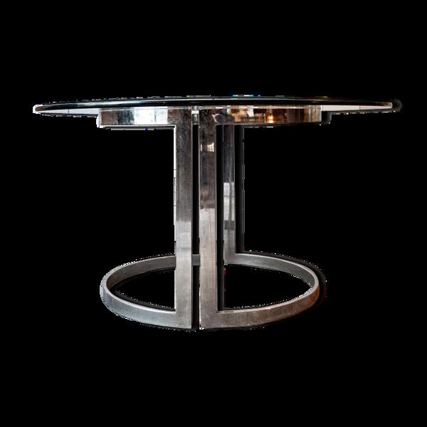 Table en acier et verre de Vittorio Introini pour Saporiti Italia années 1970