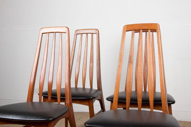 Série de 4 chaises danoises en teck, modèle « Eva » du Designer Niels Koefoed 1960