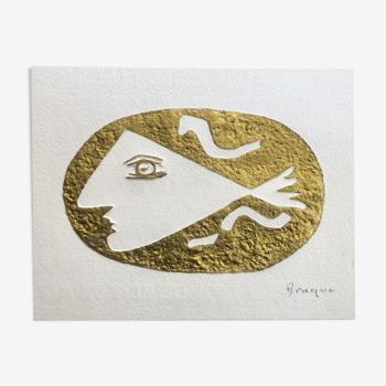 Lithographie et relief en or fin Georges Braques