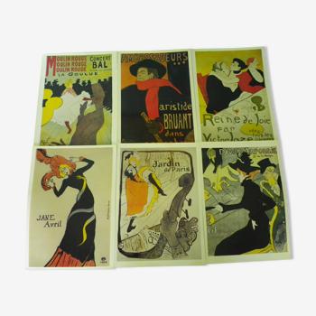 6 affiches-posters de Toulouse-Lautrec, papier glaçé en couleur,31 x 44 cm,  Posterbook Taschen