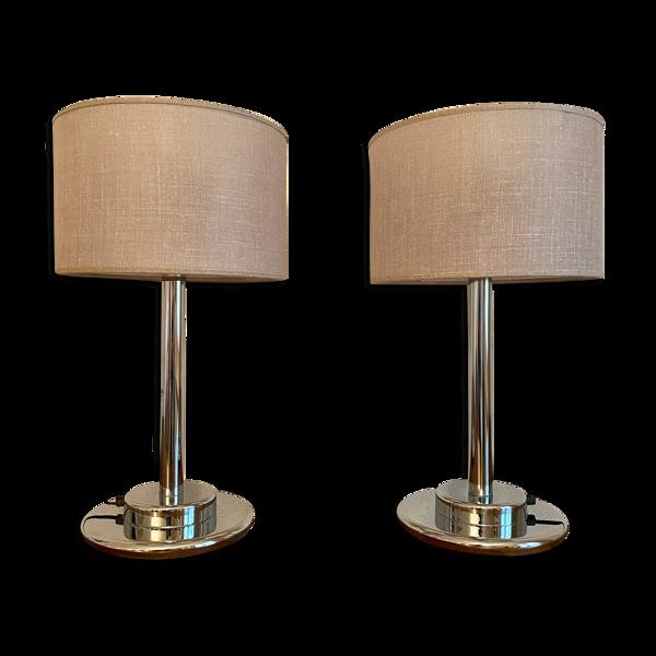Paire de lampes  en métal chromé 1970