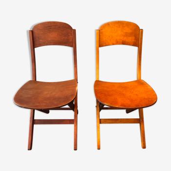 Duo de chaises pliantes années 60