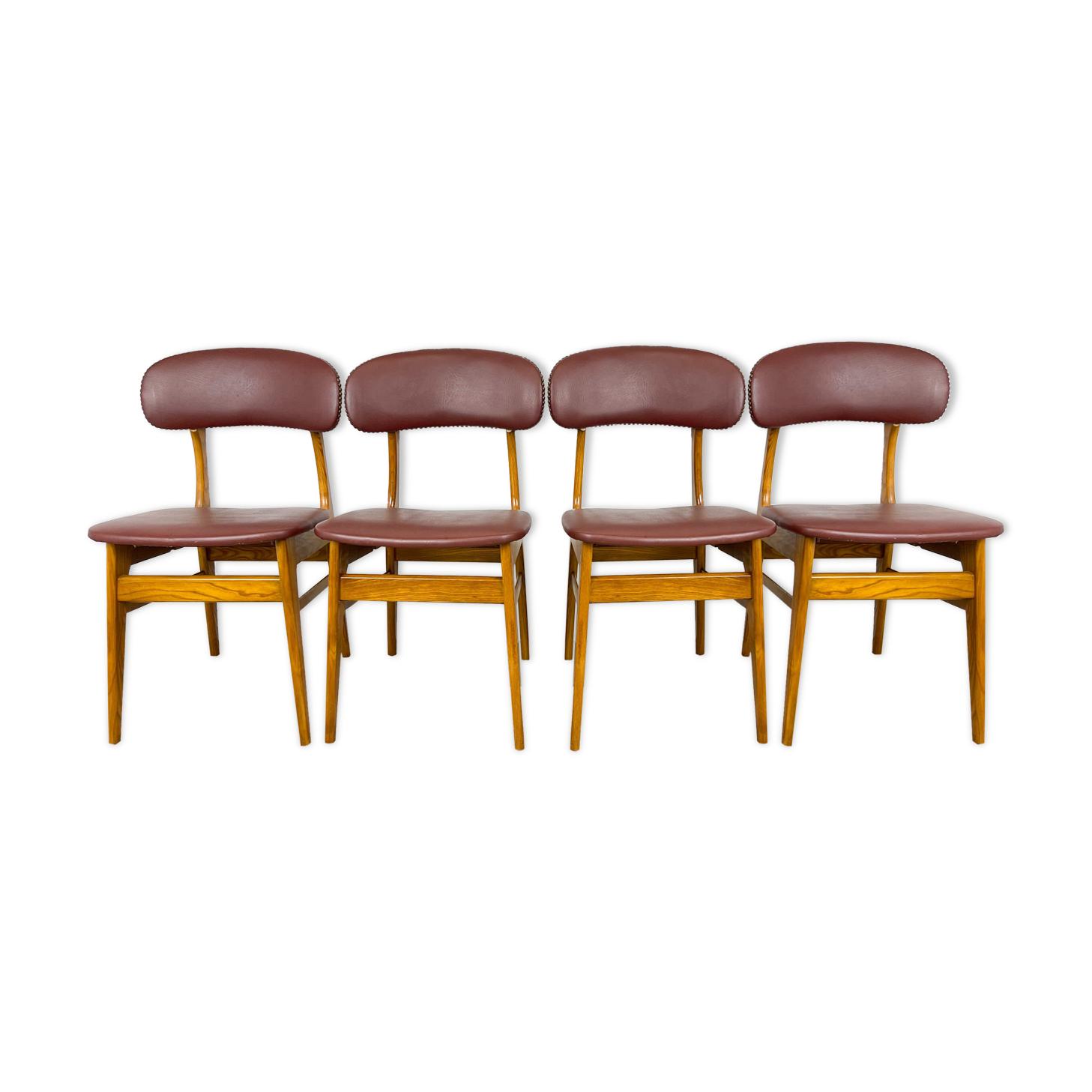 Chaises de salle à manger avec similicuir rouge rétro