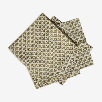 Lot de 4 serviettes block-print vertes et jaune