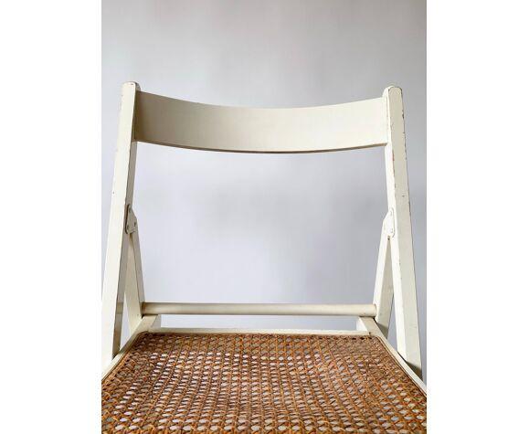 Paire chaises pliantes cannage