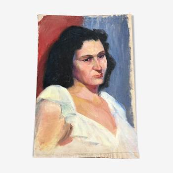 Tableau peinture huile sur toile portrait femme début XXeme