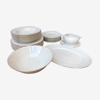 Service de table 6 personnes porcelaine doré