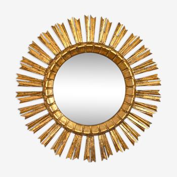 Miroir soleil en bois dorée début du XXème siècle 52cm