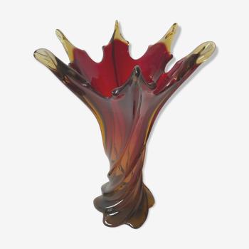 Vase vintage en verre torsadé de Murano, Italie 1960