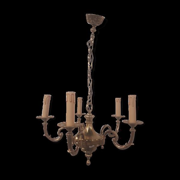 Lustre bronze 5 feux  l'esprit Louis XIV