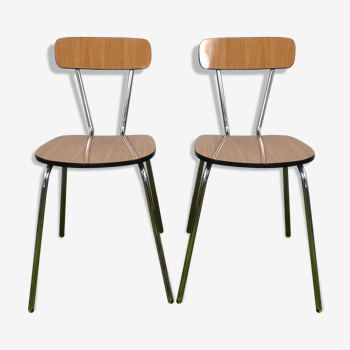Pair de chaises en formica marron