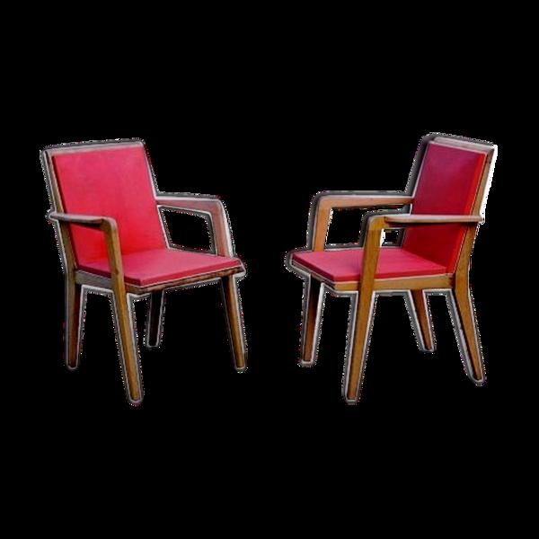 Paire de 2 fauteuils rouges vintage 1960