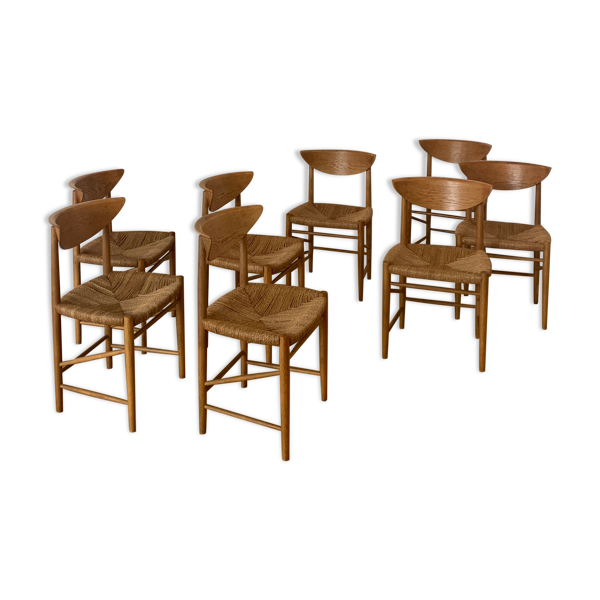Selency Ensemble de 8 chaises modèle 316 de Peter Hvidt & Orla Mølgaard Nielsen pour Søborg Mobler