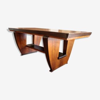 Art deco dining table in walnut
