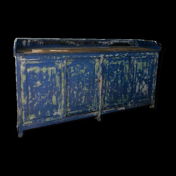 Selency Enfilade industrielle en bois patine bleu