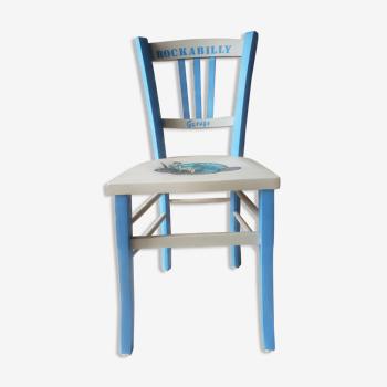 """Chaise bistrot en bois relookée """"Rockabilly"""""""