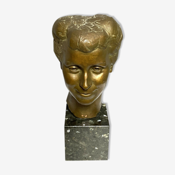 Buste en terre cuite époque art nouveau a patine dorée
