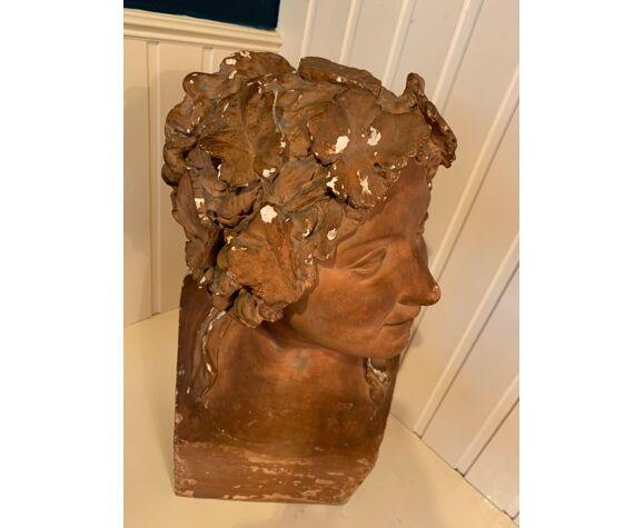 Buste féminin en plâtre 56 cm