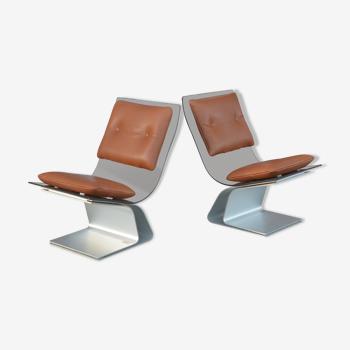 Paire de fauteuils de la Maison Jansen 1970 verre fumé et cuir Cognac