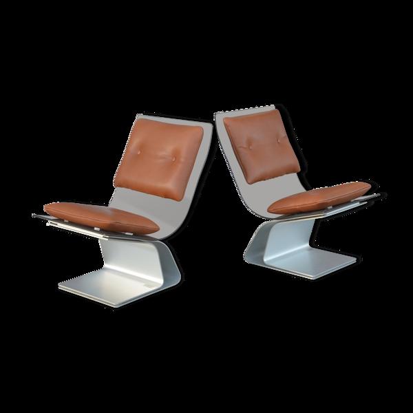Selency Paire de fauteuils de la Maison Jansen 1970 verre fumé et cuir Cognac