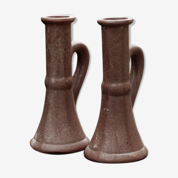 Pair of vases in reeds with handles