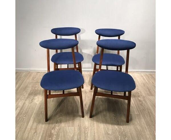Ensemble de 4 chaises vintage par R. Ha?as 1960