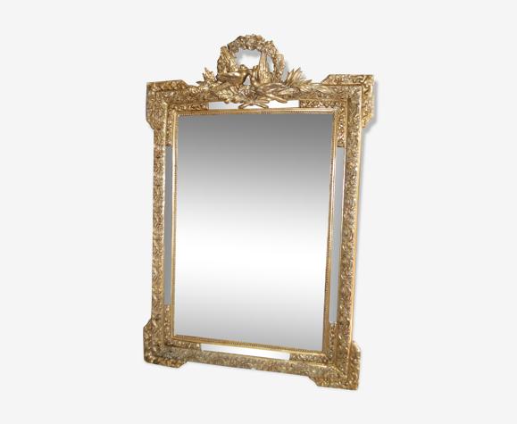 Golden mirror with doves  122x82cm