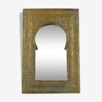Miroir marocain rectangulaire en laiton, années 60