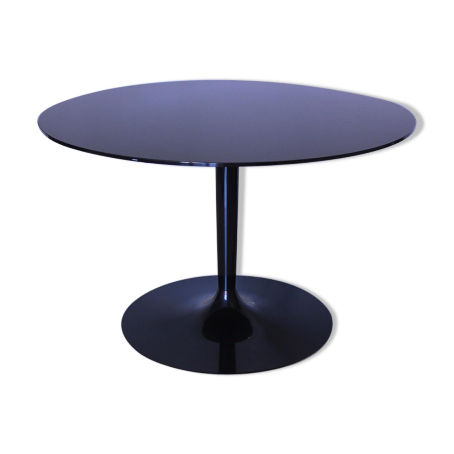 Table ronde en verre noir miroir, Italia1980s signé Calligaris