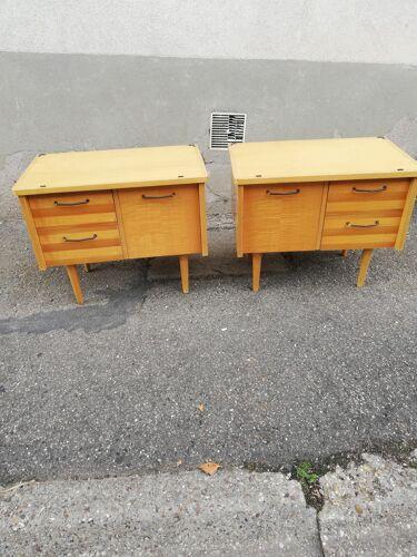 Paire de chevets vintage 2 tiroirs 1 clapet