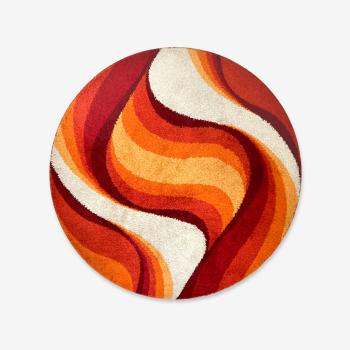 Tapis Desso Rya rug rouge orange space age pop moderniste mid-century vintage 1960/1970 200cm
