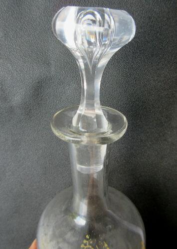 Carafe à liqueur art nouveau, verre émaillé Legras camélia sur dentelle dorée