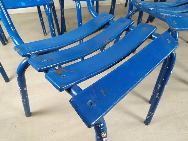 14 chaises bistrot métal bleu