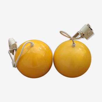 Paire de lampes Erco jaunes
