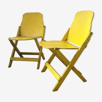 Paire de chaises pliantes militaires, armée us en bois