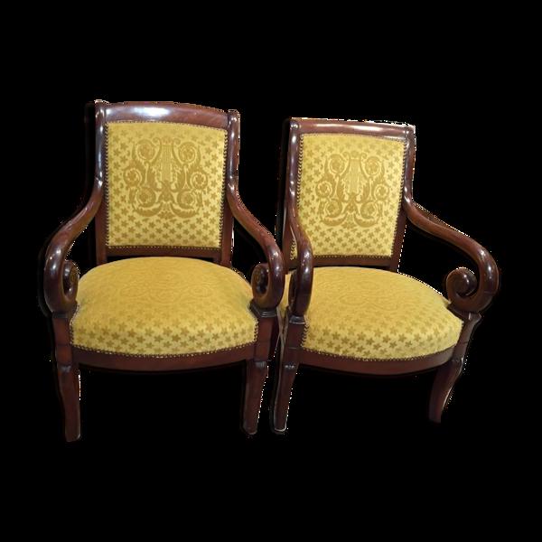 Paire de fauteuils en acajou à crosse XIX°