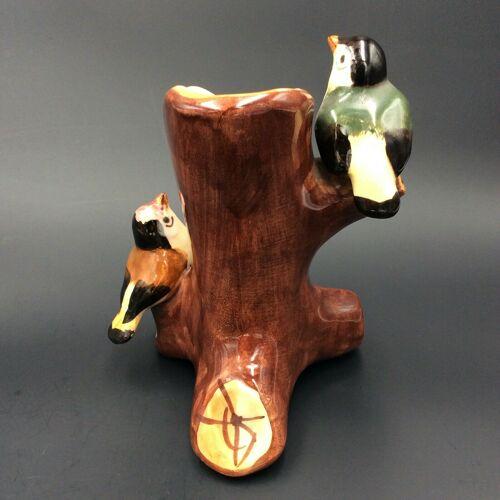 Vase oiseaux céramique barbotine majolica art nouveau J Massier Vallauris