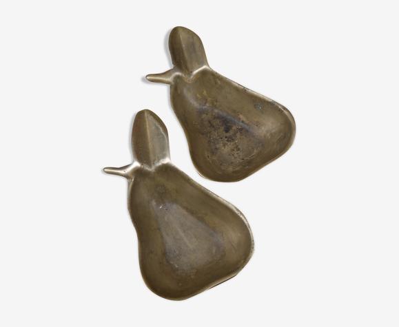 Deux cendriers poires en laiton
