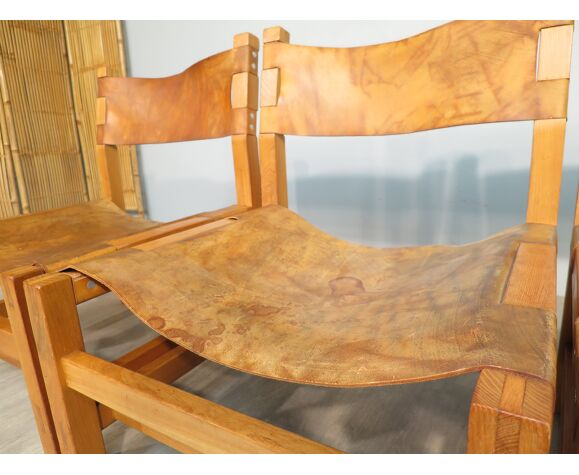 Lot de fauteuils orme et cuir Maison Regain