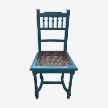 Chaise bleue turquoise cannage