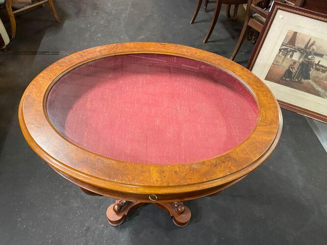 Table console avec vitrine de présentation