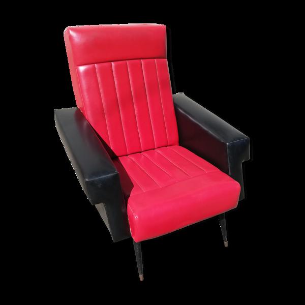 Fauteuil vintage skai noir et rouge