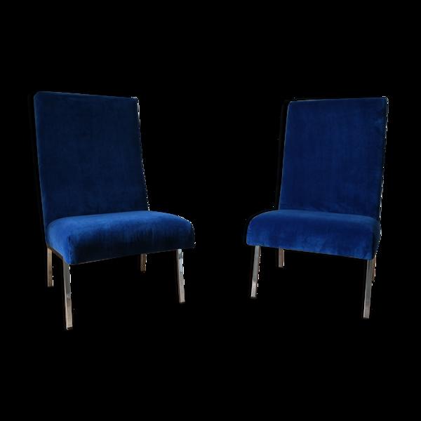 Selency Paire de chauffeuses bleu nuit, 1960