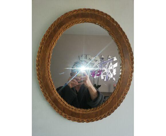Miroir en osier vintage 40x47cm