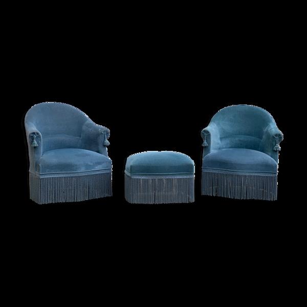 Paire de fauteuils crapaud et repose pieds 1970