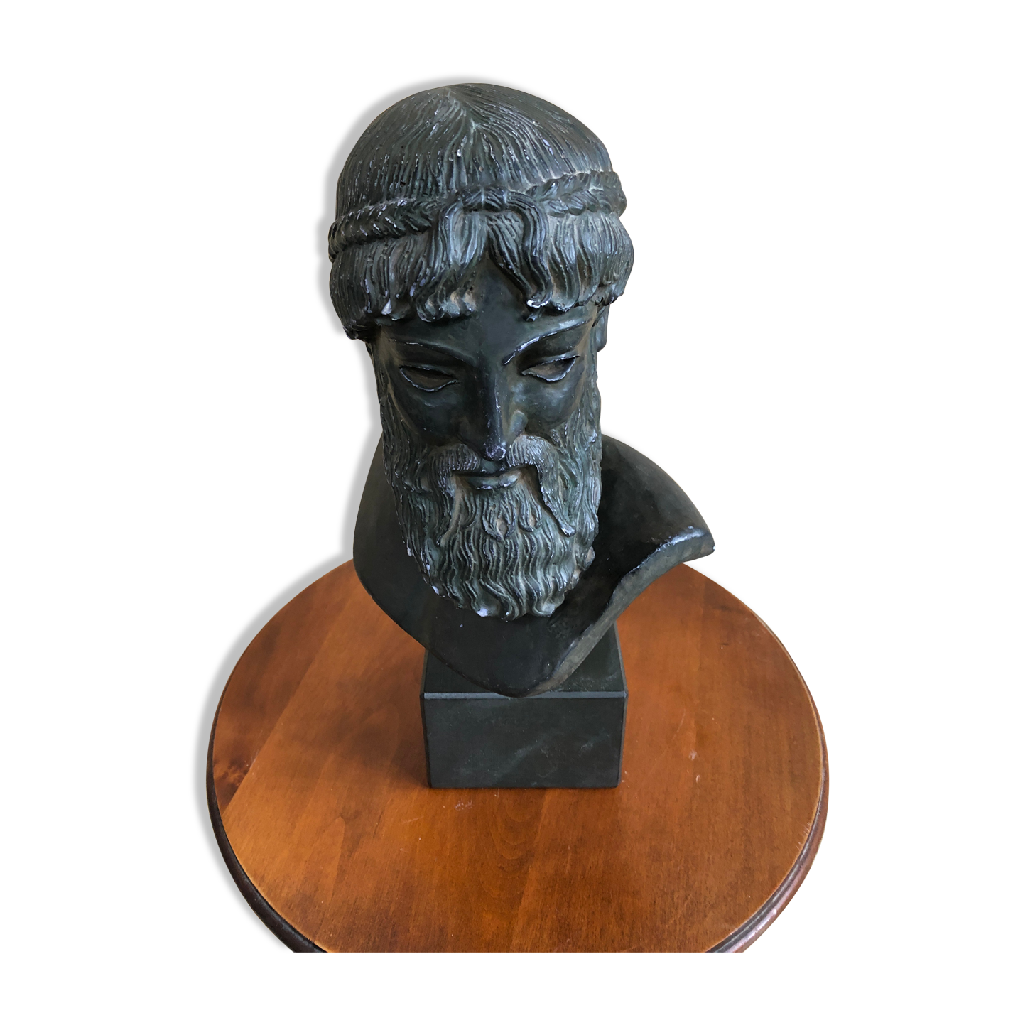 Ancien buste dieu poséidon plâtre patine bronze + socle bois décoration vintage